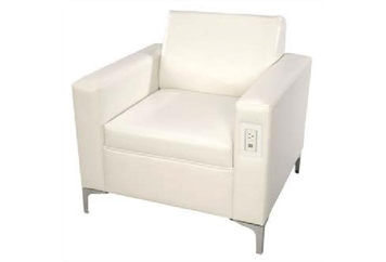 Juiced White Leather Chair (Charging Stations) in Orlando