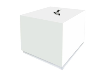 South Beach Cube End Table White Charged (Charging Stations) in Orlando
