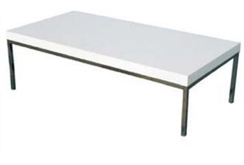 South Beach White & Chrome Coffee Table Long (Tables - Coffee) in Orlando