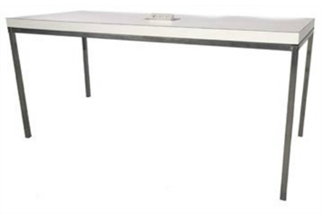 White Top Chrome Legs Dining Table With Power Grommet (Charging Furniture) in Orlando