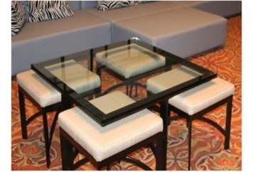 Nesting Coffee Table and White Ottoman (50% Tables - Coffee 50% Ottomans) in Orlando