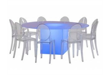 LED Acrylic and Glass Dining Table Round (Combinations) in Orlando