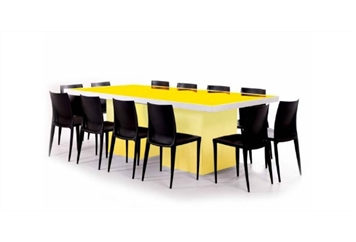Acrylic Gold Mirror Top Dining Table (Tables - Dining) in Orlando