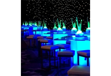 LED Acrylic Neon Blue Highboy Table Large (Tables - Highboy Large) in Orlando