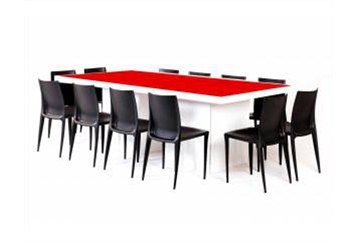 Acrylic Red Top Dining Table (Tables - Dining) in Orlando
