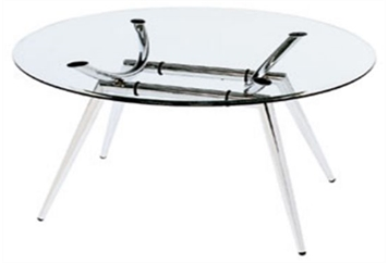 Chrome & Glass Round Table (Tables - Cafe) in Orlando
