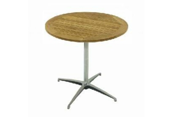 Easy Chrome Base Teak Top Cafe Table (Tables - Cafe) in Orlando