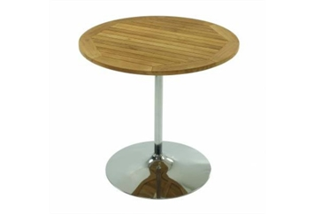 Easy Chrome Tulip Base Teak Top Cafe Table (Tables - Cafe) in Orlando