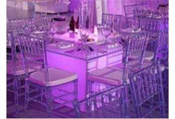 Rent Acrylic Clear Square Top Dining Table With Fabric Base