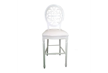 Medallion White Barstool With White Laser cut Back (Barstools) in Orlando