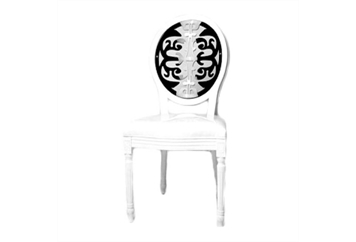 Medallion White With Black Laser-Cut Back Chair (Chairs - Dining) in Orlando