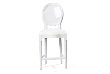 Medallion White Barstool With Clear Back (Barstools) in Orlando